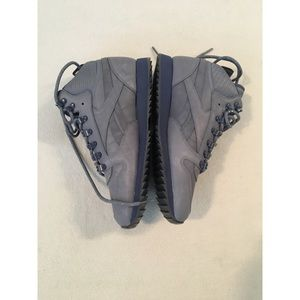 Grey and blue Reebok high tops